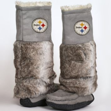 Cuce Shoes Pittsburgh Steelers Ladies The Follower Boots - Gray - http://www.shareasale.com/m-pr.cfm?merchantID=7124&userID=1042934&productID=525372975 / Pittsburgh Steelers