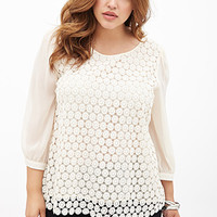 FOREVER 21 PLUS Crocheted Chiffon-Sleeve Top Cream