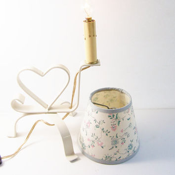 CLEARANCE Vintage Metal Candle Lamp with Floral Shade, Cream Heart Embellished Lamp Stand, Electric Candle Lamp