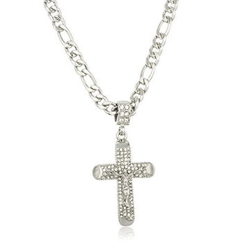 Silvertone Iced Out Jesus Piece Cross Micro Pendant with a 24 Inch Figaro Necklace