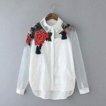 Women Fashion Blusas Feminina Organza Flower Embroidery Mesh Hollow out Long Sleeve Shirt Blouse Clothes Casual Tops Plus Size