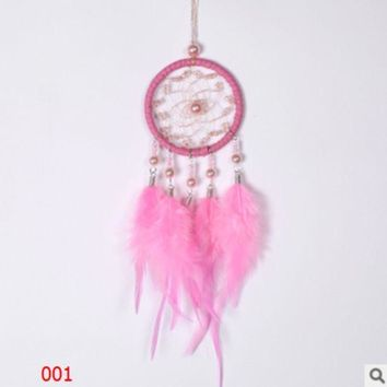 CREYXF7 Creative high-grade crystal beads Pearl dream catcher car pendant Girls' hearts Pink white dream catcher ornaments