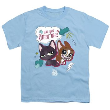 Littlest Pet Shop Kids T-Shirt Are You Kitten Me Light Blue Tee