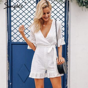 Simplee Sexy deep v-neck jumpsuit romper