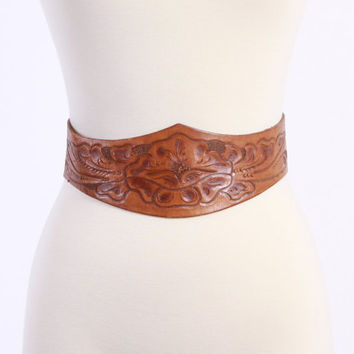 Vintage 50s BELT / 1950s Golden Brown Wide Leather TOOLED Floral WESTERN Brass Buckle Belt xs