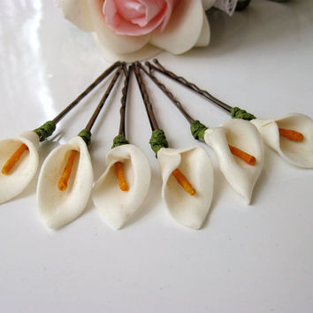 Set of 6 Ivory Lily Floral Hair Clips Floral Hair Clips, Bridal Hair Accessories, Wedding Hair Accessories, White Paper Flower
