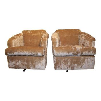 Pre-owned Vintage Crushed Velvet Swivel Chairs