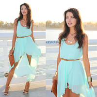 Light Blue Sleeveless Chiffon Dress with Asymmetrical Skirt