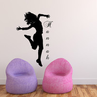 Dance Name Wall Decal Ballerina Vinyl Decals Ballet Dancing Acrobatics Gymnastics Wall Decal Custom Personalized Girls Name Decor T185