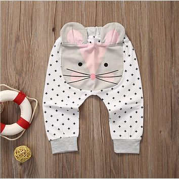 Newborn Baby Boys Girls Pants 2017 New Autumn Casual Cartoon Printing Middle Elastic Waist Pants Baby Boys Girls Trousers 4p042