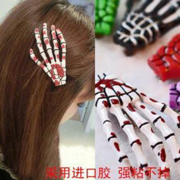 50pcs size 4 * 7cm skull claw hairpin skeleton hand hair clips /Lolita/Rockabilly/Goth /clip mixed colors
