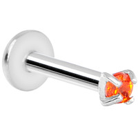 16 Gauge Orange 2mm Gem Internally Threaded Labret Monroe Tragus | Body Candy Body Jewelry