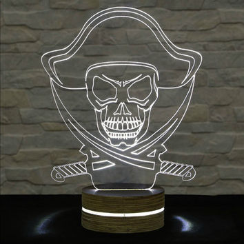 Pirate Shape, 3D LED Lamp, Office Decor, Desk Lamp, Home Decor, Plexiglass Lamp, Decorative Lamp, Nursery Light, Acrylic Night Light