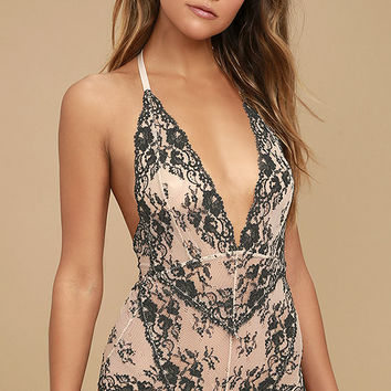 Free People Too Cute To Handle Grey and Blush Lace Halter Romper
