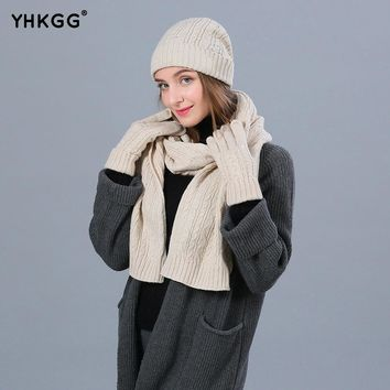 YHKGG Fashion Winter Hats Scarf Gloves For Women Wool Winter Accessories Set Female Beanie Scarf Gloves 3 Pieces/Set