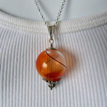 Hand Blown Glass Pendant Necklace  Orange in by OWLandHOURGLASS