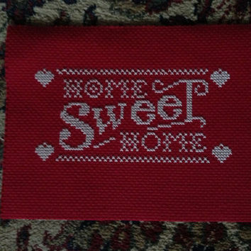 Home Sweet Home Red & White Cross Stitch Sign 5x7