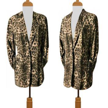 Women's Coat- Leopard Print- Animal Print- Women's Jacket- Blazer- Calvin Klein