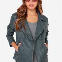 Hitch a Ride Grey Vegan Leather Moto Jacket