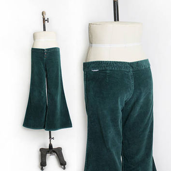 Vintage 1970s Bell Bottom Cords - Emerald Green Corduroy Low Rise Jeans- Medium