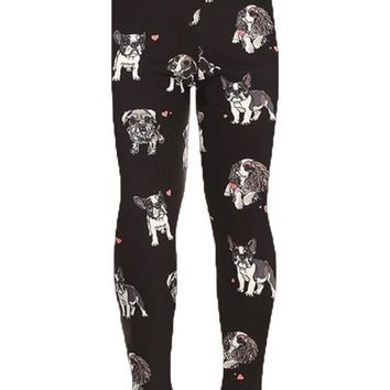 Girl's Dog Leggings Small Breed Puppies Terrier Pugs Bulldogs Schnauzer: S/L
