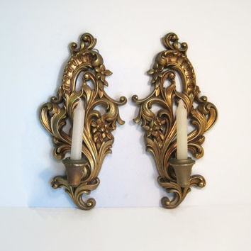 Burwood Products USA Candle Wall Sconce Pair Vintage Gold Gilt Wall Mount Candle Holder