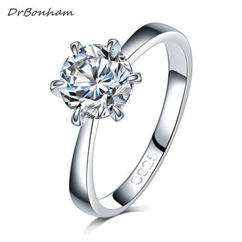 Round Ring Engagement Rings 6 Prongs Setting Cubic Zirconia Anel Jewelry For Women Love Bague Anillos Mujer Gift