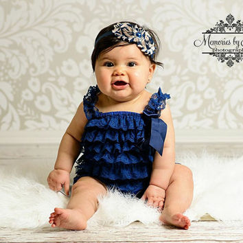 baby, Navy Blue Petti lace Romper, romper, newborn romper, baby girls birthday outfit, Photography props, baby romper, 4th of July