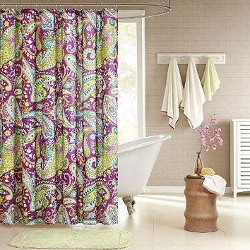 Purple Yellow Teal Paisley Bath Shower Curtain 72 x 72 inch