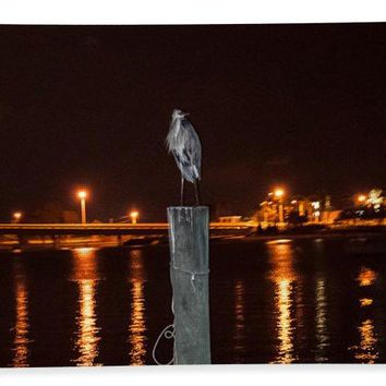 Blue Heron Night - Bath Towel