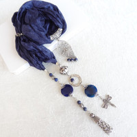 Navy Blue Jewelry Scarf, Scarf Necklace,  Silver Plated,Lapis Lazuli Necklace , Turkish Silk Necklace