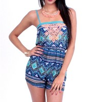 Strap PRNT Romper - Teal at Beyond Trends : Women's Fashion Clothing & Junior Trendy Clothing & Accessories