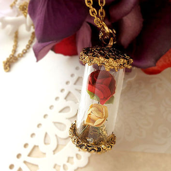 "DARKWHISPER Vintage Beauty & the Beast ""Rose in glass bottle"" Handmade Romantic Fairy Tale Pendant Necklace Valentine's Day"