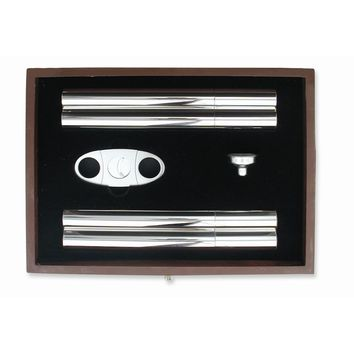 Stainless Steel Cigar Case and Flask Gift Set - Engravable Gift Item