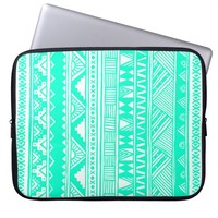 Turquoise White Girly Aztec Geometric Pattern Laptop Sleeves