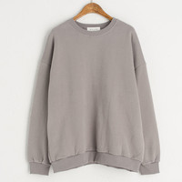 Washed Colour Simple Sweatshirt, Grey