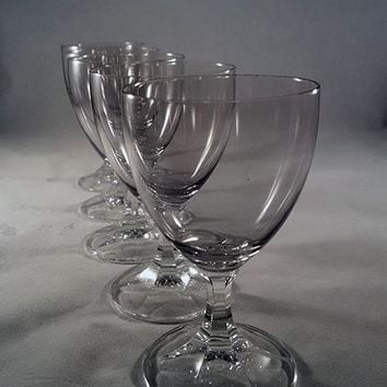 Gray Tinted Cordial Glasses with Clear Faceted Stem