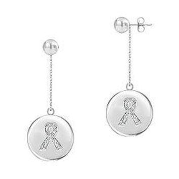 Diamond Breast Cancer Awareness Ribbon Disc Earrings : 14K White Gold - 0.33 CT Diamonds