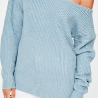 Missguided - Blue Off Shoulder Knitted Jumper