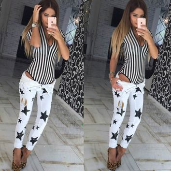 Winter Women's new stars printing Slim pencil pants ladies jeans