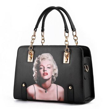 Brand Design Women Handbags 3D Printed Marilyn Monroe Handbags Black Tote Bag High Quality Pu Leather Ladies Shoulder Bag