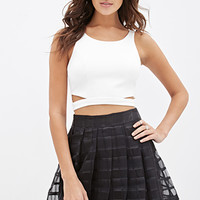 FOREVER 21 Organza Check Skirt Black