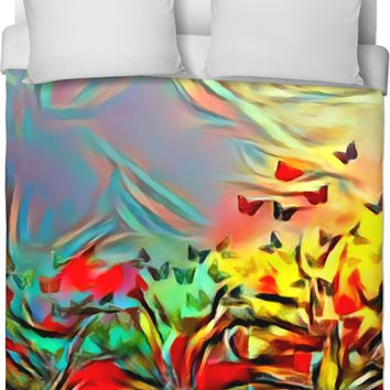Butterflies at meadow, colorful abstract grassland pattern, nature themed duvet cover