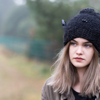 Women's Hat Winter black Women Hat Slouchy Beanie Slouchy Hat Winter Hat Slouch Beanie Knit Winter Hats Women  Romantic hat  Ready to ship