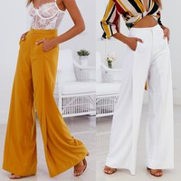 Pure Color High Waist Women Long Wide-leg Pants
