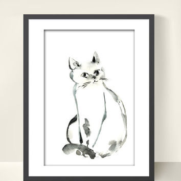 Holiday Sale Cat Art Print of Original Watercolor Painting 6x8  Minimalist Black and White Cat Wall Art