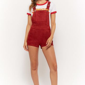 Faux Suede Overall Shorts