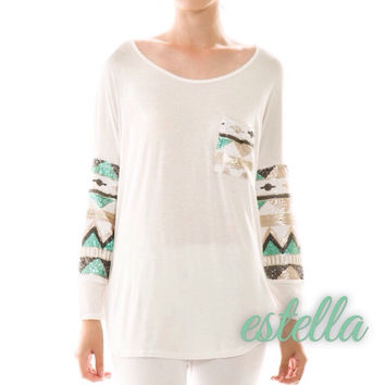 The Quinn - Sequin Aztec Top in Ivory
