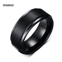Mprainbow Mens Rings Black Pure Tungsten Carbide Wedding Engagement Band Ring for Men Fashion Trendy Jewelry 8MM bague homme