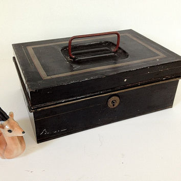 Antique Metal Lock Box Black by vintage19something on Etsy